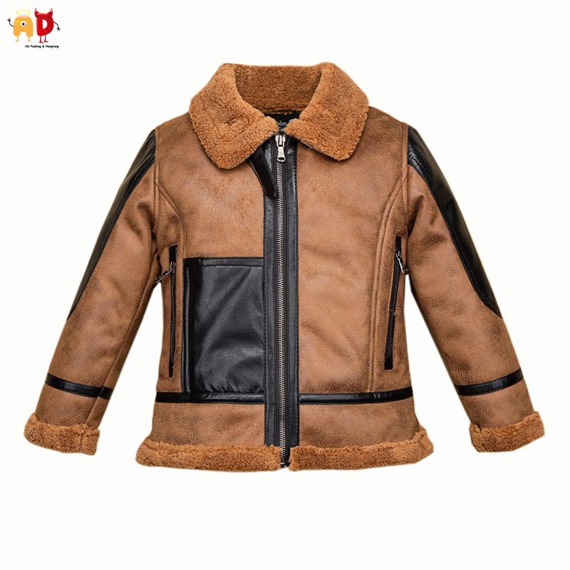AD Super Warm Boys Fleece Leather Jacket for Winter Thickening Thermal Wind-proof Cowboy Kids Teenager's Coat Children Outwear