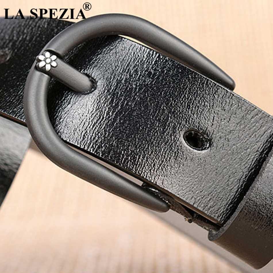 ラ SPEZIA 黒革ベルト女性デザイナーブランドのピンバックルベルトジーンズレディース高級本物の牛の革の女性のカジュアルベルト