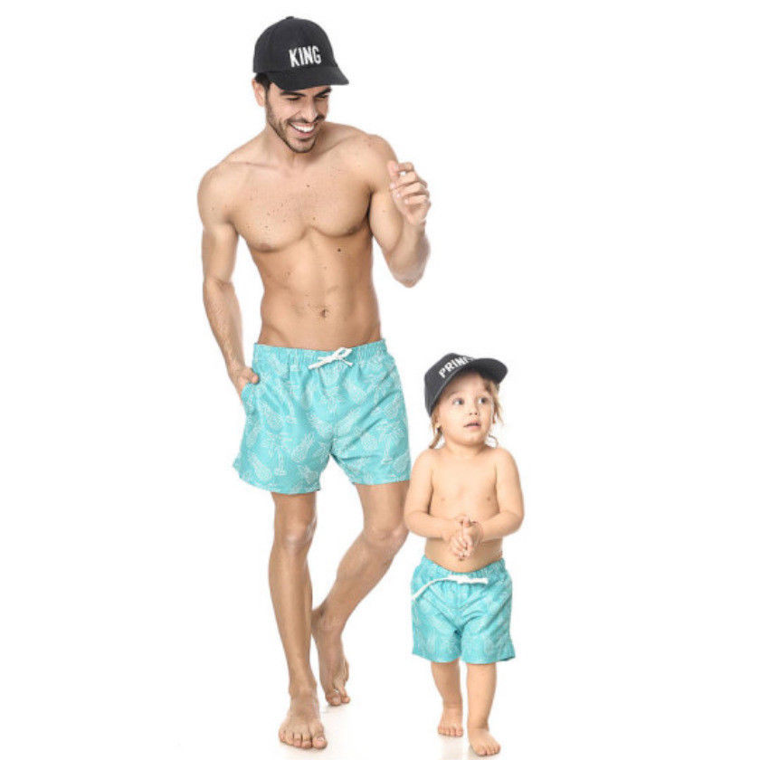2018 Mens Father& Son Fitness Beach Sport Shorts Running Training Casual Gym loose shors solid blue printed shorts