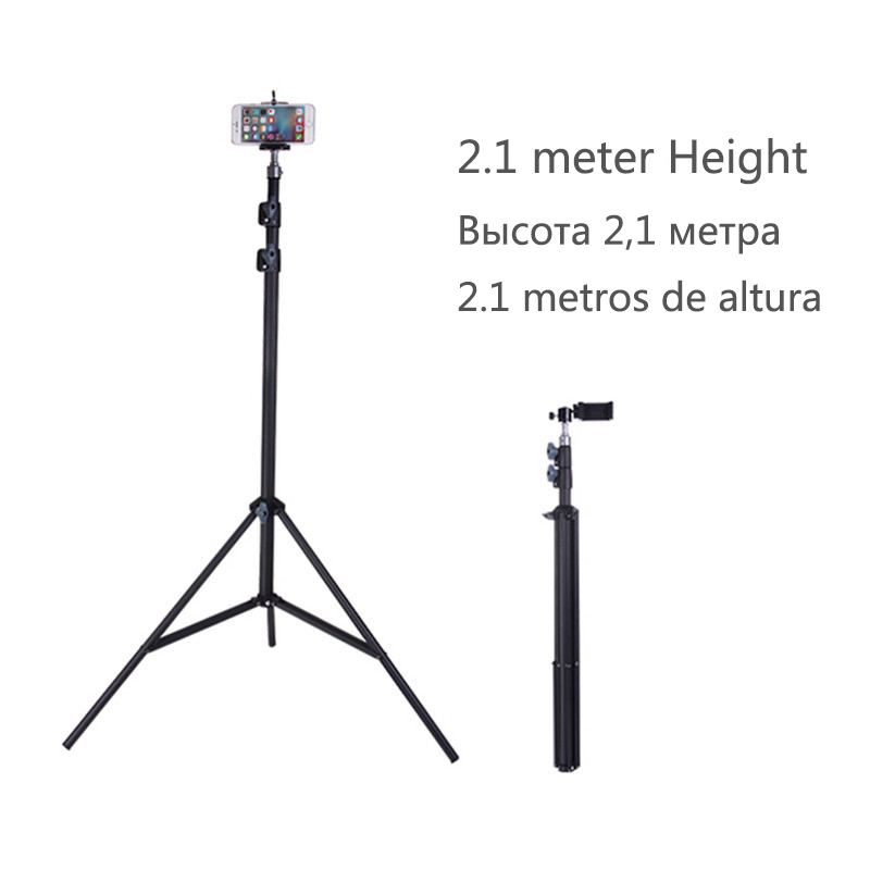 210 cm Portable Camera Tripod Stand Holder Adjustable Rotatable Retractable Tripods Smartphones Mount for iPhone 8 7 6s 6 SE X