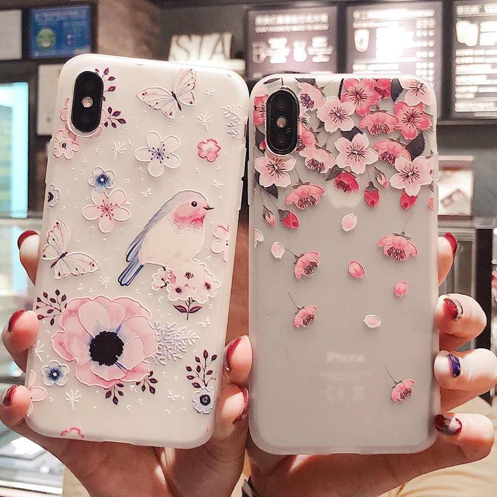 סיליקון פרח מקרה עבור iPhone XS Max XR X 10 צמיד מחזיק 3D הקלה בדוגמת כיסוי עבור iPhone 6 S 6 S 8 7 בתוספת טלפון מקרה