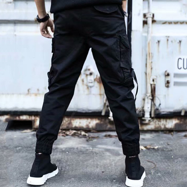 2019 NEW Streetwear Ribbons Casual SweatPants Black Slim Mens Joggers Pants Side-pockets Cotton Camouflage Male Trouser 5
