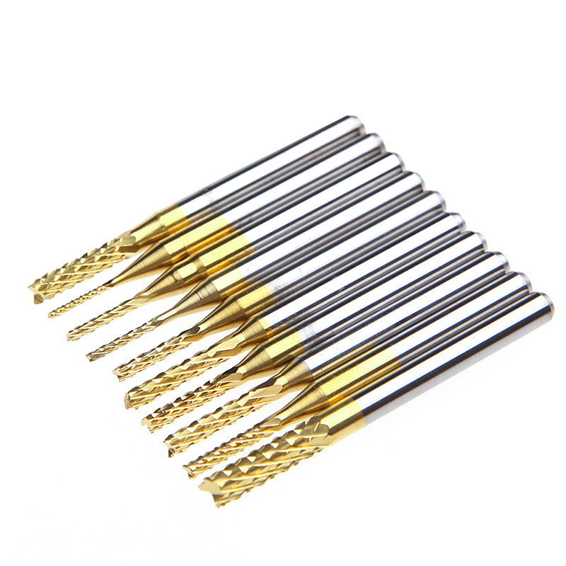 цена на 10Pcs 1/8'' 0.8-3.175mm PCB Drill Bit Set Engraving Cutter Rotary CNC End Mill -Y103