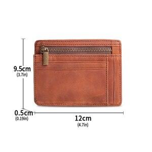 Image 4 - Cobbler Legend Thin Genuine Leather Card Wallet Men Bank Purse New Coin Bag Mini Wallet Id Holder Women Travel Pocket Wallet