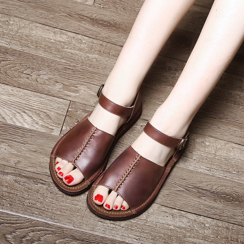 Genuine Leather Sandals Women 2018 Soft Bottom Casual Leather Summer Shoes Ladies Flat Heel Retro Sandals Handmade Shoes 8313 summer shoes woman handmade genuine leather soft sandals casual comfortable women shoes 2017 new fashion women sandals