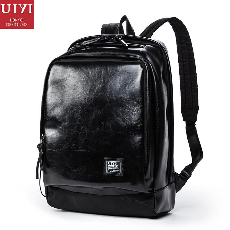 UIYI Fashion Men Women PU Leather PVC Travel Backpack Mochila Vintage Men Travel Casual Laptop Bag Student School Daypack 150194