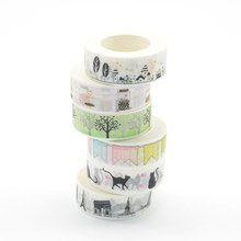 Washi Tape Masking Deco Noel Washitape Cinta Adhesiva Decorativa Bendera Washi Scrapbooking Vintage Paris Papelaria Ótima Kucing(China)