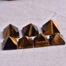 1 PC Natural Tiger Eye Pyramid Healing Crystal Natural Stone Mineral Cyanite Gift Home Feng Shui Decoration Free Shipping