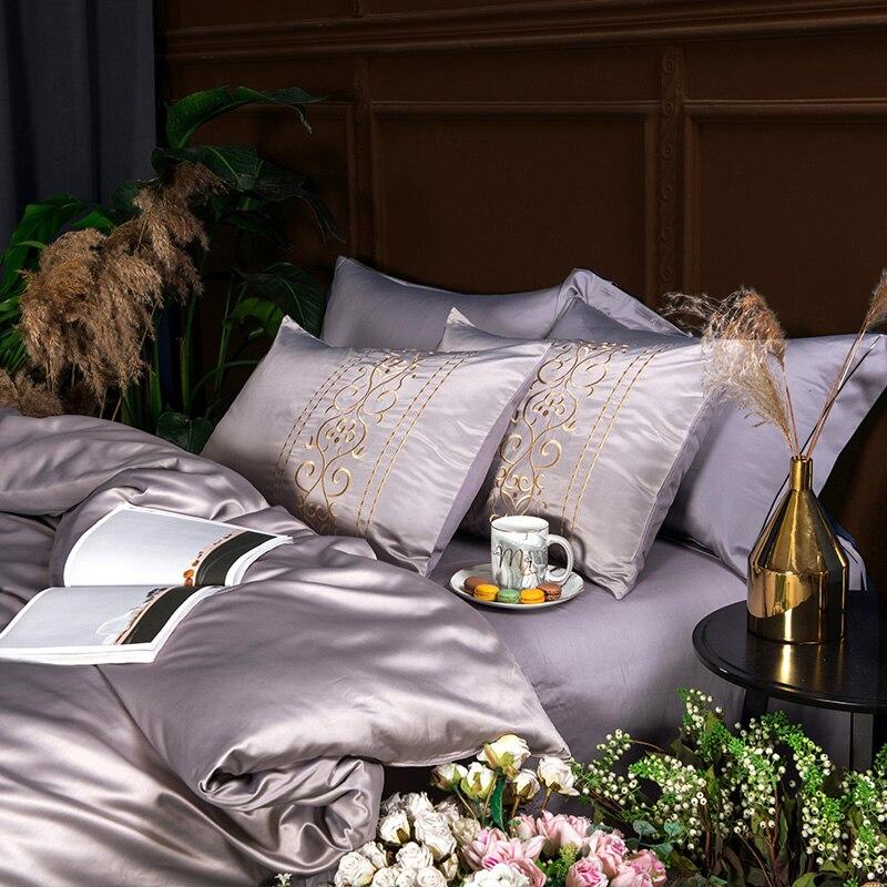(7)  White silver cotton imitate silk luxurious Bedding Set queen king measurement mattress set Bedsheets linen Europe embroidery Quilt cowl set HTB1UMx8peGSBuNjSspbq6AiipXa3