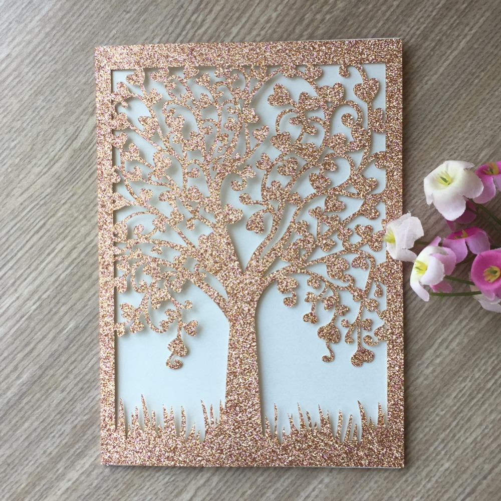 Us 32 4 46 Off 40pcs Laser Cut Glitter Paper Craft Rose Gold Color Tree Wedding Party Decoration Invitation Card Birthday Blessing Paper Card In