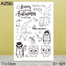 AZSG Cute Owl Hedgehog Clear Stamps For DIY Scrapbooking/Card Making/Album Decorative Silicone Stamp Crafts