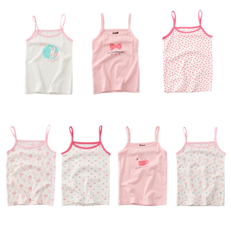 Summer Style Girl Underwear Kids Clothes Tank Tops For Girls Lace Cute Cotton Girls Camisole Undershirt 2-8T Teenager Singlets