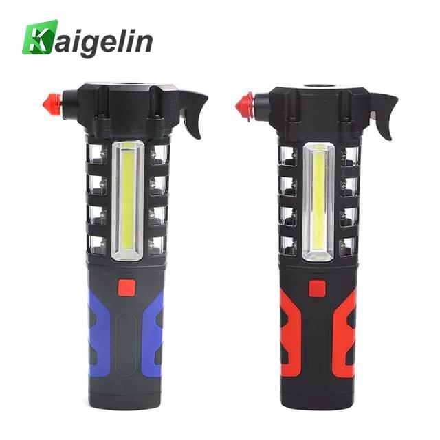 16 LEDs+ COB Magnet Flashlight LED Work Light 3W Hight Bright Inspection Light Emergency Hammer Camping Car Repair Light 3 Modes