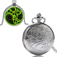 Hot Sell Classic Siver Pocket Watch Gift Box Necklace Chain Quartz Round Doctor Who Men Women
