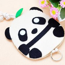 Lovely Small Panda Style Coin Purse Coin Wallet Keys Holder Key Holder Felt DIY Package Needle Craft Felt Applique Ornament(China)