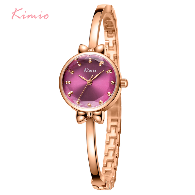 KIMIO Brand Small Bow Women Watch Rose Gold Color Multi-section Ladies Quartz Wrist Watches Creative Thin Bracelet Watch Female