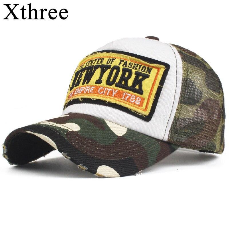 Xthree Summer Baseball Cap Camouflage Mesh Hats For Men Women Snapback Gorras Hombre hats Casual Hip Hop Casquette Caps