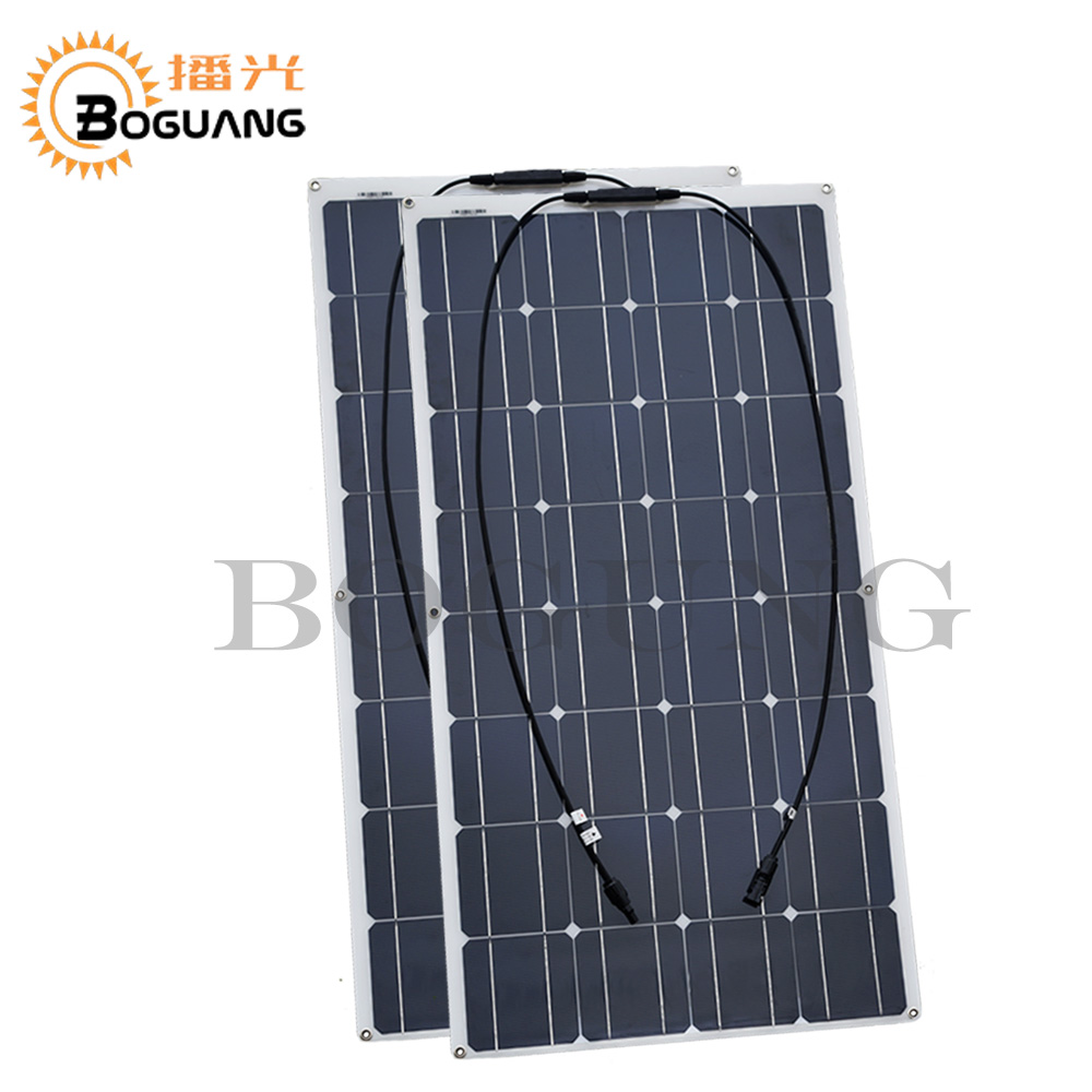 Solarparts 2pcs 100w 200watt semi flexible Solar Panel china mono solar cell module system 12v battery/yacht/RV/car/boat charger 300w solar system from china suit for car ship boat with six pcs of module 50w and mppt solar conroller