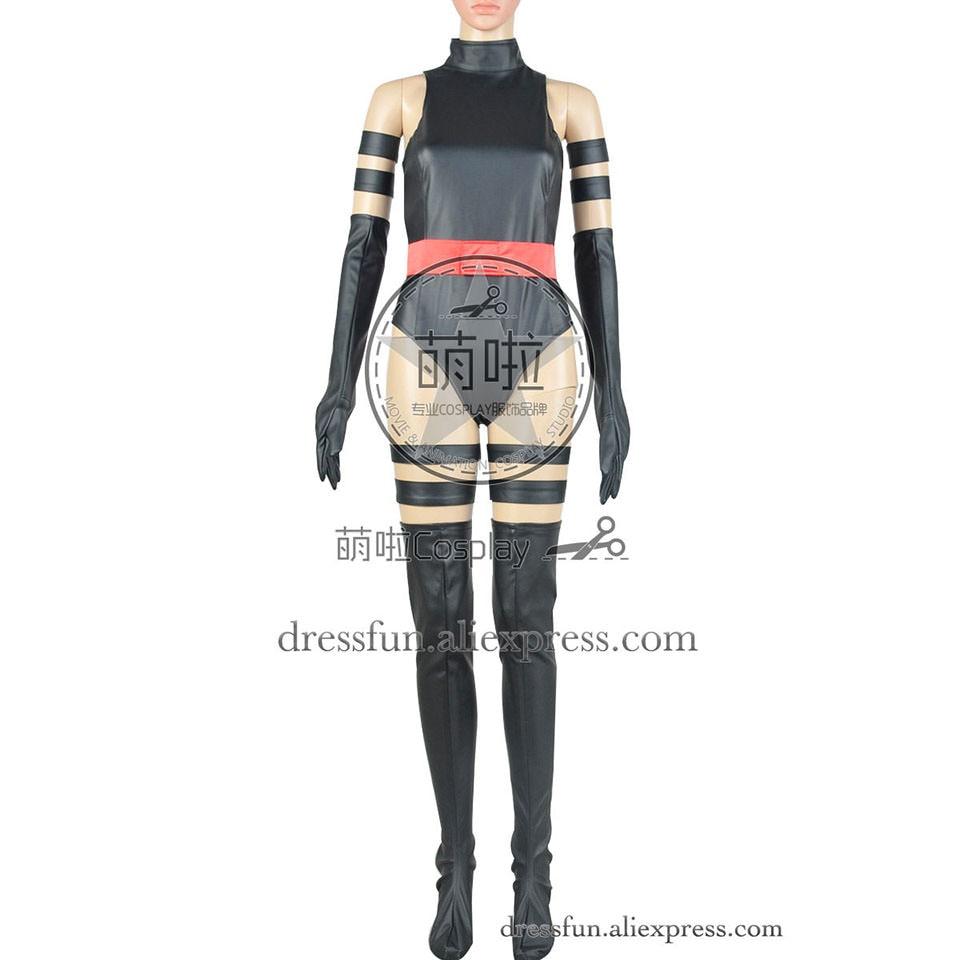 Psylocke Superheroine Cosplay Costume X-Men Apocalypse Female Adult Clothing Artificial Leather Uniform Girl Black Jumpsuit