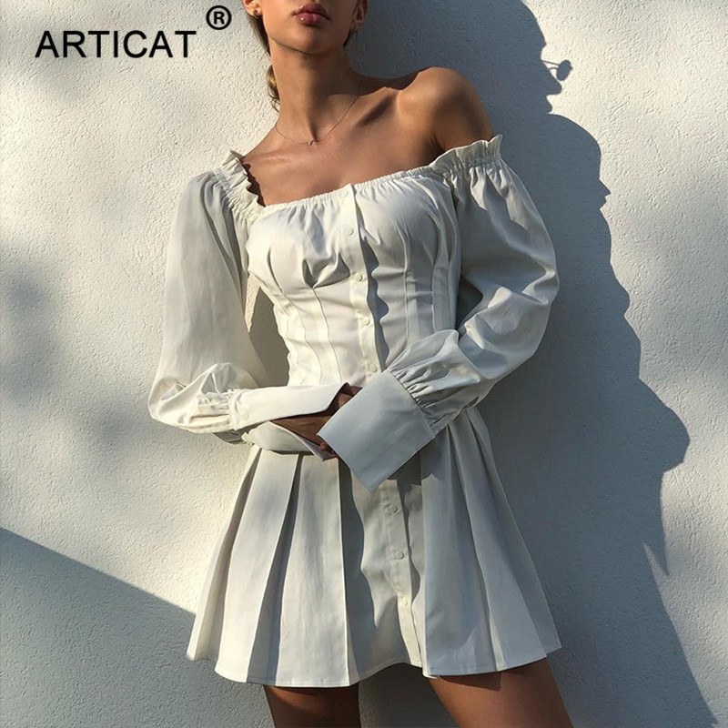 Articat Elegant Off Shoulder Pleated Dress Women Solid