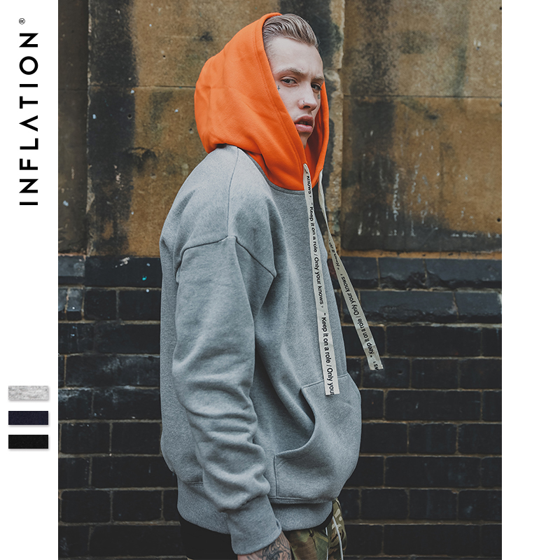INFLATION 2018 Autumn Winter Brand Fashion Hoodies Sweatshirts Hip Hop Streetwear Sweatshirt Men Hoodie Sweatshirt Hooded 163W17