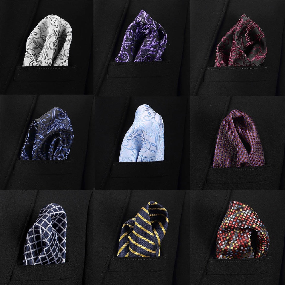 Vangise Mens Pocket Squares Solid Pattern Blue Handkerchief Fashion Hanky For Men Business Suit Accessories 22cm*22cm