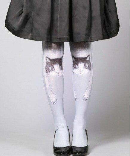 Japanese Harajuku Cute Cat Female Tattoo Stocking Tights Pantyhose