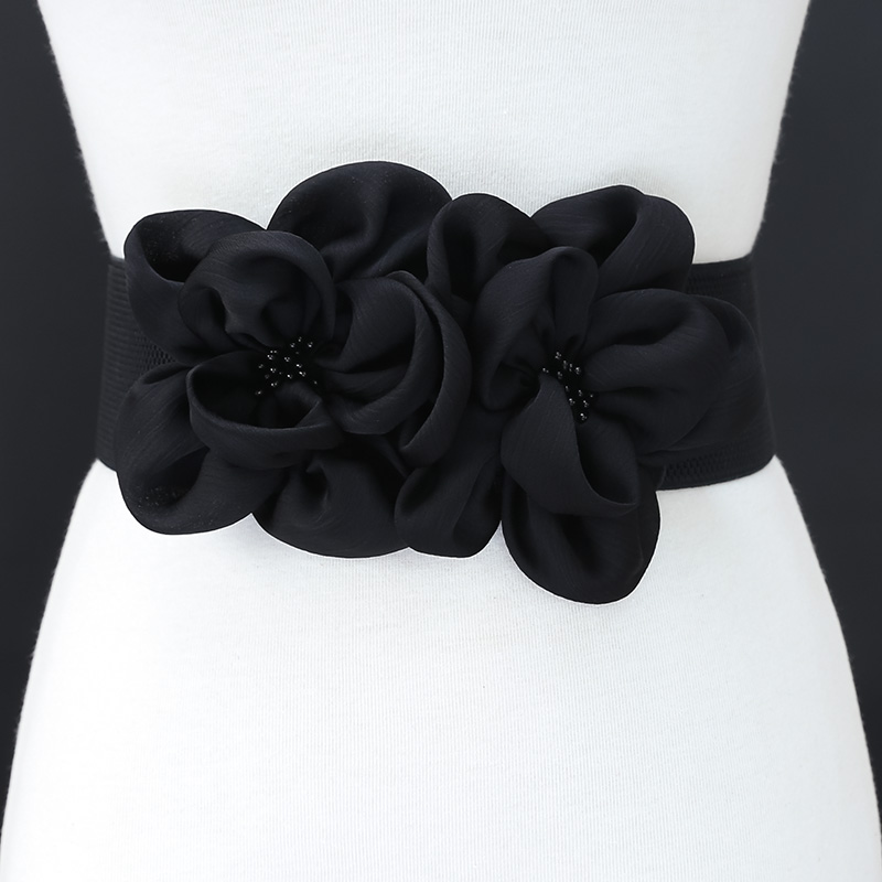 Fashion Double Chiffon Flowers Beads Elastic Band Waist   Belt   For Women All-suits European Floral Dress   Belt   Women Waistband   Belt