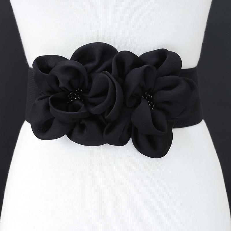 Fashion Double Chiffon Flowers Beads Elastic Band Waist s