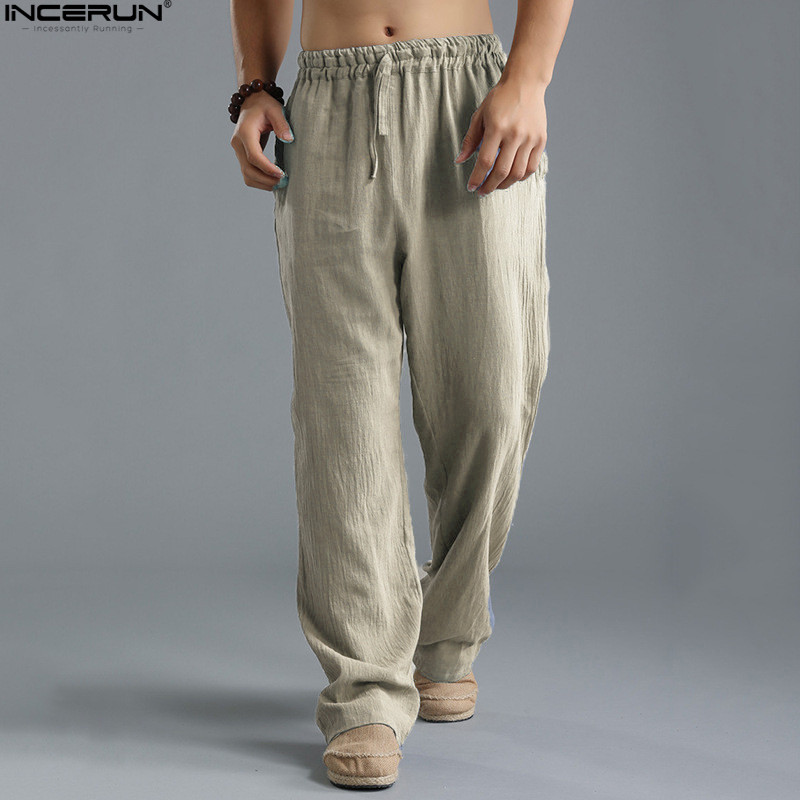 15d62748c65 Spring Summer Men Pants Casual Mens Business Trousers Thin Linen Loose  Elastic Waist Chinese Style Pants
