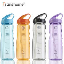 Transhome Health Sport Bottle With Straw 650ml Drinkfles For Outdoor Sport Bike Travel Camping Protein Shaker Water Bottle Tour