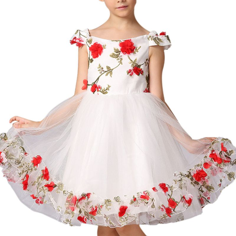 Sweet Chidren Girls Summer Flower Embroideried Pageant Dress Prom Party Tutu Tulle Dress