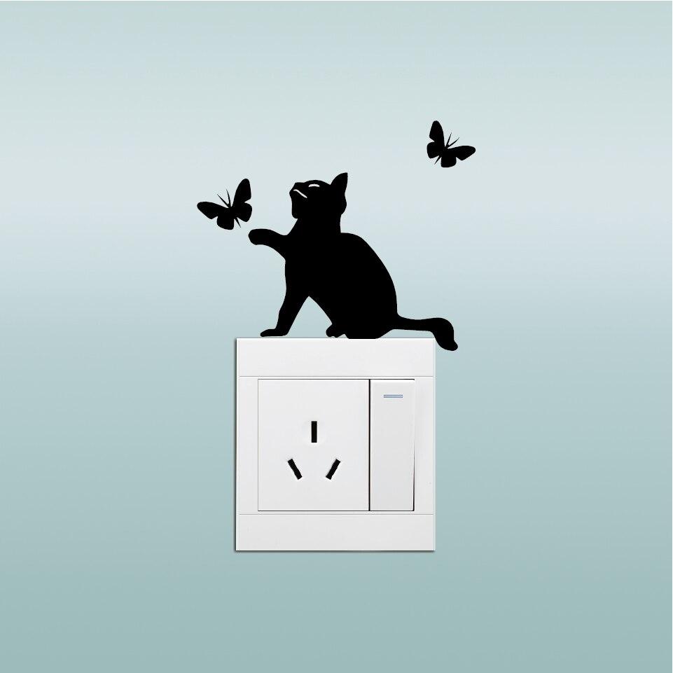 Katze Fngt Schmetterlinge Silhouette Schalter Aufkleber Cartoon Stiker Switch Lampu Kucing Gantung Aeproductgetsubject