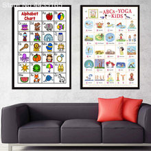 Poster ABC ALPHABET CHART Kids Education Yoga Astanga Posters and Prints Wall Art Canvas Painting for KIDS Room Home Decor(China)