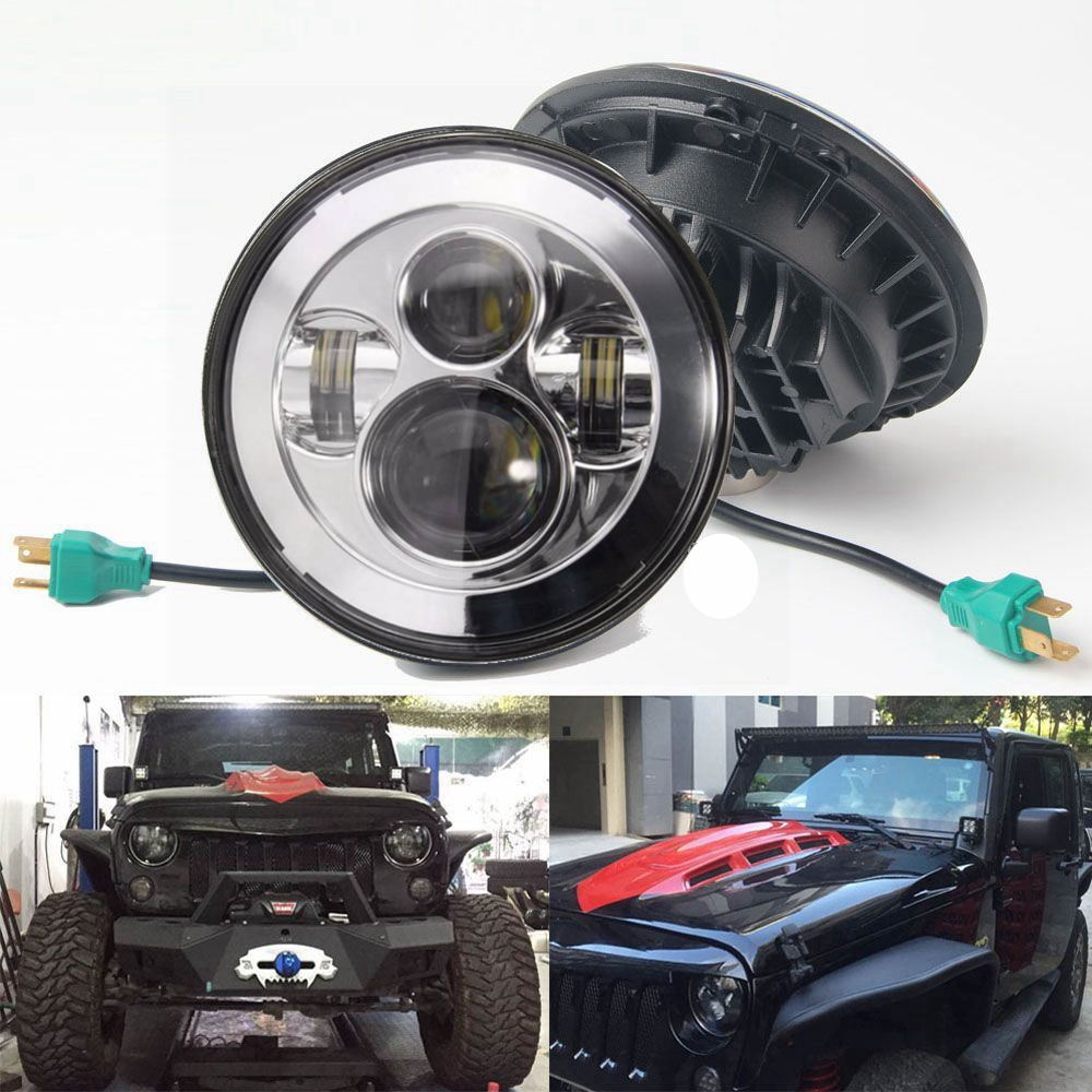 2x 7inch LED Headlight for 07-15 JEEP Wrangler JK Hummer H4 High Low Beam 40W for jeep wrangler jk 2
