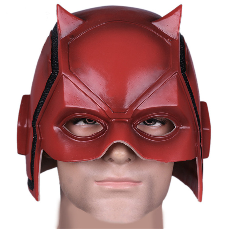 Takerlama New Anime Daredevil Mask Matt Murdock Cosplay Costume Helmet Brand New Red PVC Mask for Adult Halloween On Sale