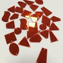 30 шт пришить на плоской задней части красный акриловый зеркальный кристалл страз Диамант зеркальные бусины с отверстием для DIY свадебное платье одежда сумки