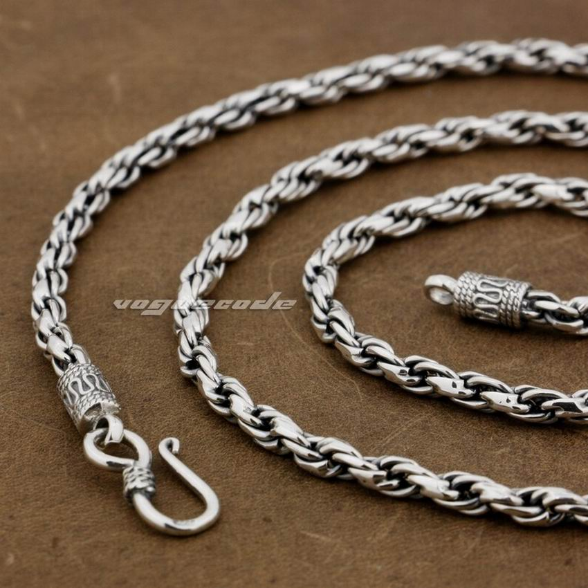 4mm 925 Sterling Silver Woven Double Link Chain Mens Biker Necklace 8L011 Free Shipping4mm 925 Sterling Silver Woven Double Link Chain Mens Biker Necklace 8L011 Free Shipping