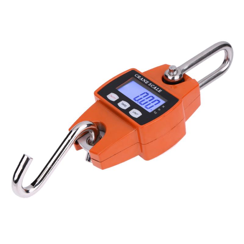 300kg Mini Crane Scale Portable LCD Digital Electronic Stainless Steel Hook Screw Hanging Weight Crane Scales Weighing Balance