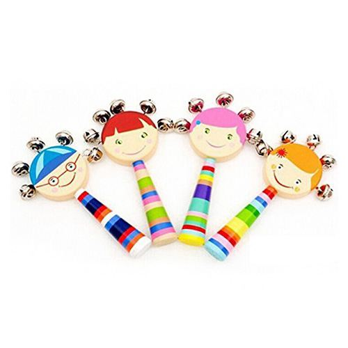 AINY-1pc Baby Kids Rainbow Wooden Handle Bell Jingle Stick Shaker Rattle Toys