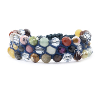 Lotusmann 3 knitted 12 natural crystal constellation gem bracelet adjust