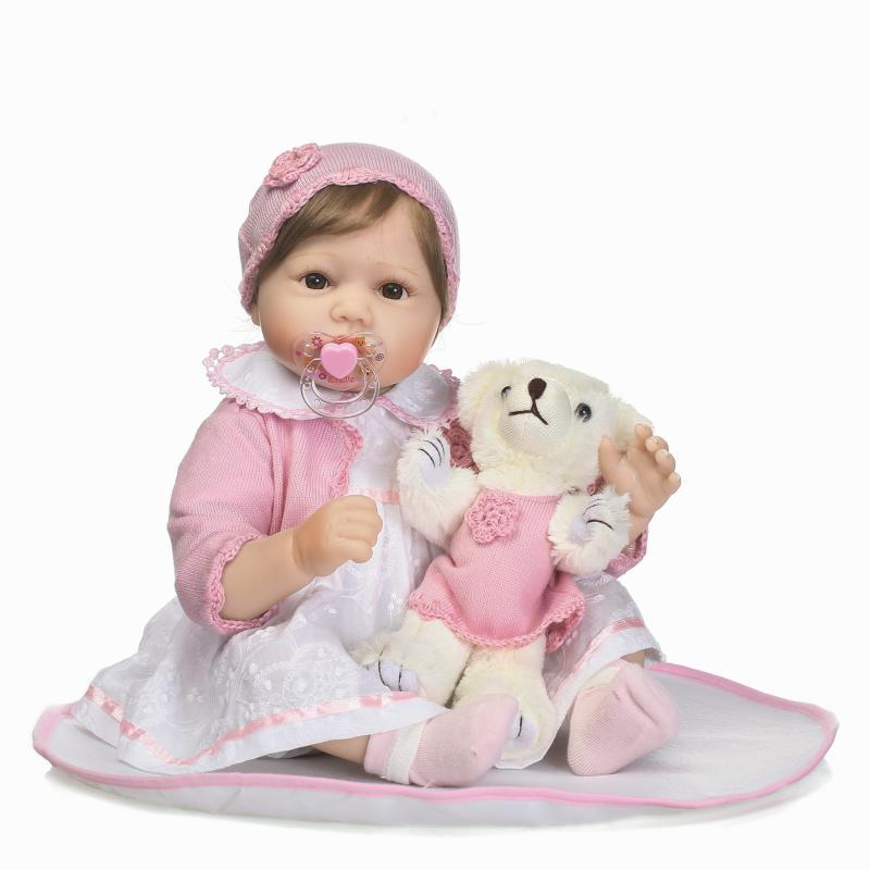 NPK 55CM Bebe Reborn Baby Dolls 2 Styles Cloth Body Silicone Girl With Magnetic Pacifier Doll And Plush toys Kids Christmas gift red line red line moto x style