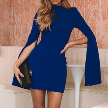 Ofice Ladies New Turtleneck Backless Women's Hip Dress Solid Color V Neck Bell Sleeves Bodycon Pencil Dress 2019 Autumn Winter недорго, оригинальная цена