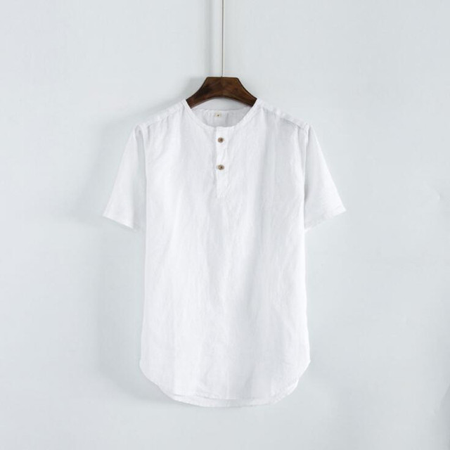 077cdbe07 New Spring Chinese Style Pure Linen Shirt Men's Short-sleeved Shirt Casual  Round Neck Linen Shirt