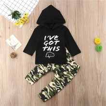 Infant Baby Boy Funny Fist Hoodies Outfit Sweatshirt Tops Camo Pants Clothes 2Pcs Set