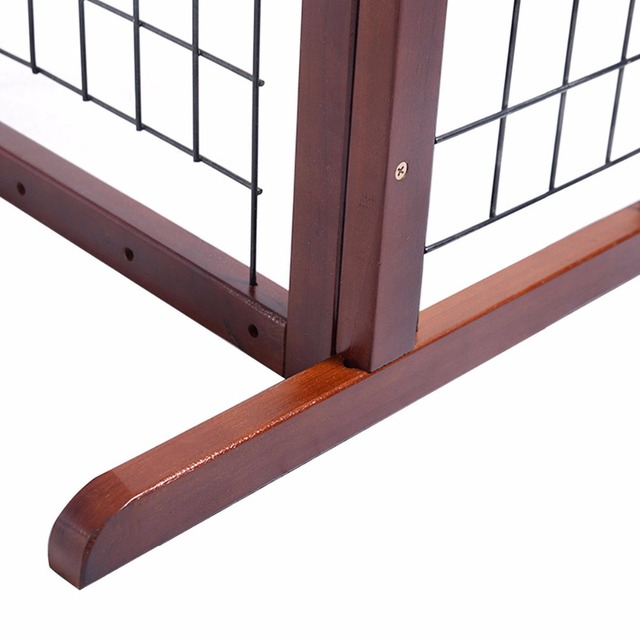 Wood Dog Gate Adjustable Indoor Solid Construction Pet Fence Playpen Free Stand  PS6090