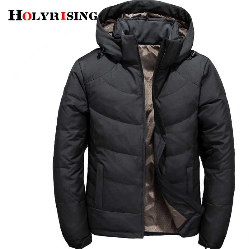 Holyrising Men Winter Duck Down Male Parkas Jacket Coats Solid Hooded Casual Outwear jaqueta masculina Winter Down Coat 18470-5