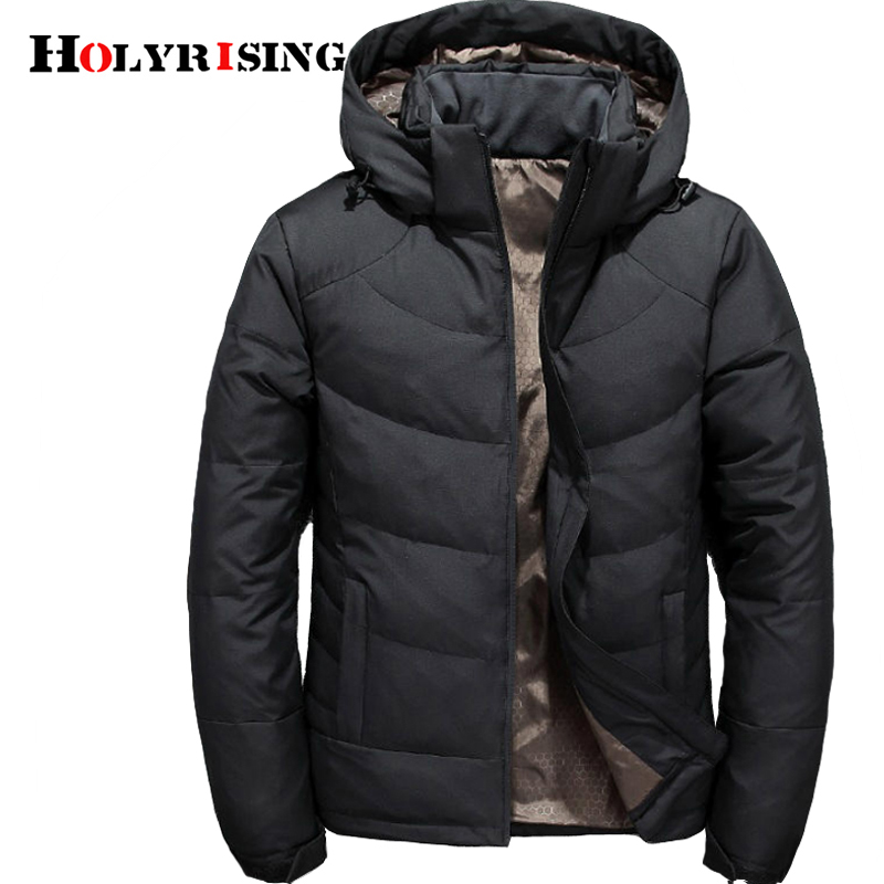 Holyrising Men Winter Duck Down Male Parkas Jacket Coats Solid Hooded Casual Outwear jaqueta masculina Winter Down Coat 18470 5-in Down Jackets from Men's Clothing    1