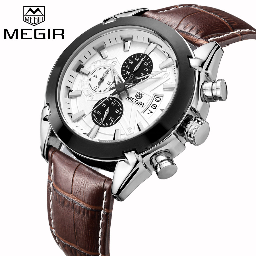 <font><b>MEGIR</b></font> Luxury Brand Military Watches Men Quartz Chronograph 6 Hands Leather Clock Man Sports Army Wrist Watch Relogios Masculino image