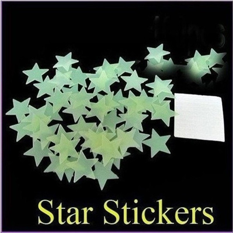 100pcs wall stickers decal glow in the dark baby kids bedroom home decor color stars luminous fluorescent wall stickers decal in wall stickers from home
